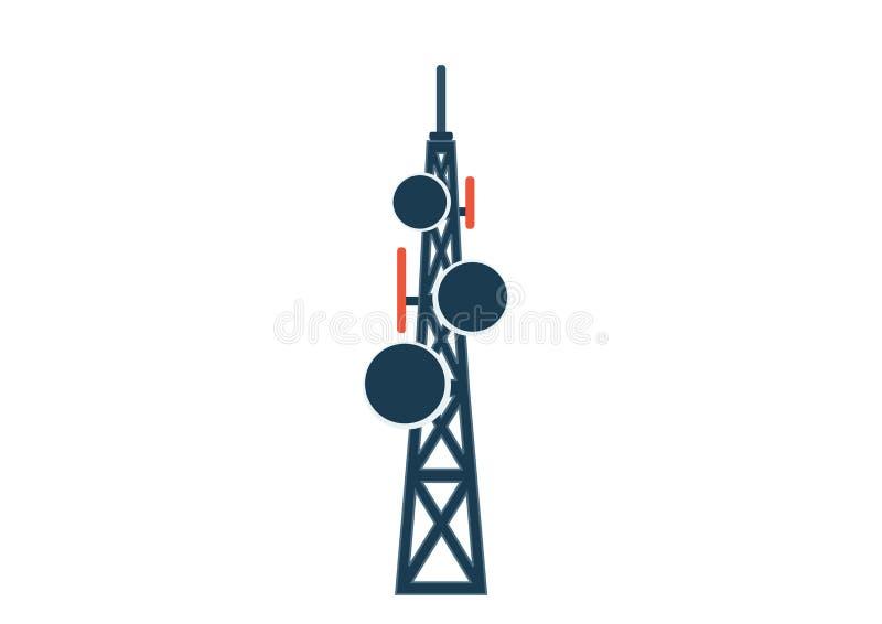 Telekomunikacji wierza z antena odosobnionym wizerunkiem royalty ilustracja