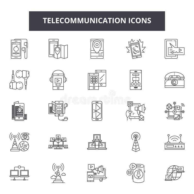 Telekomunikacyjnej linii ikony, znaki, wektoru set, liniowy pojęcie, kontur ilustracja ilustracji