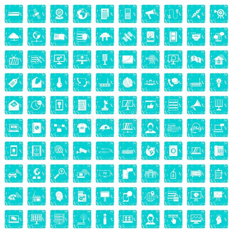 100 telekomunikacyjnych ikon ustawiają grunge błękit ilustracja wektor