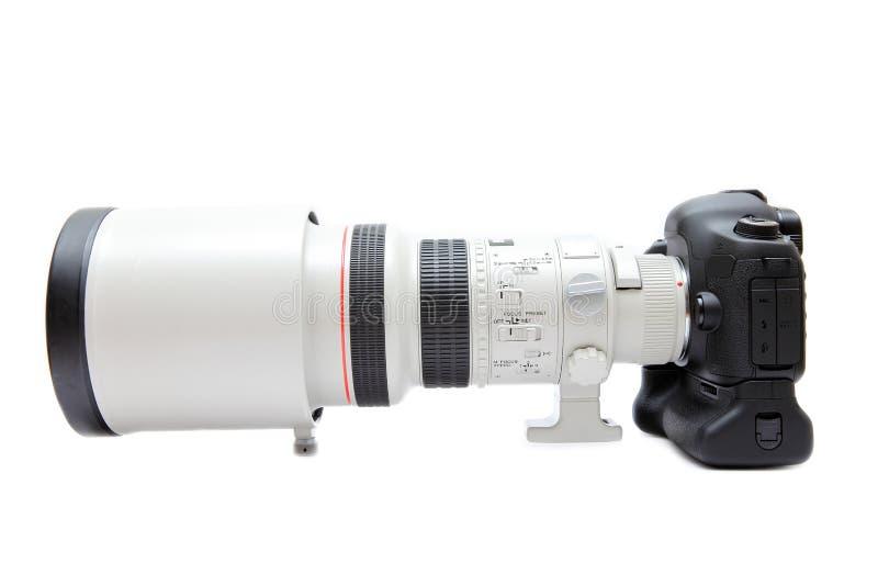 Telelens op camera royalty-vrije stock foto