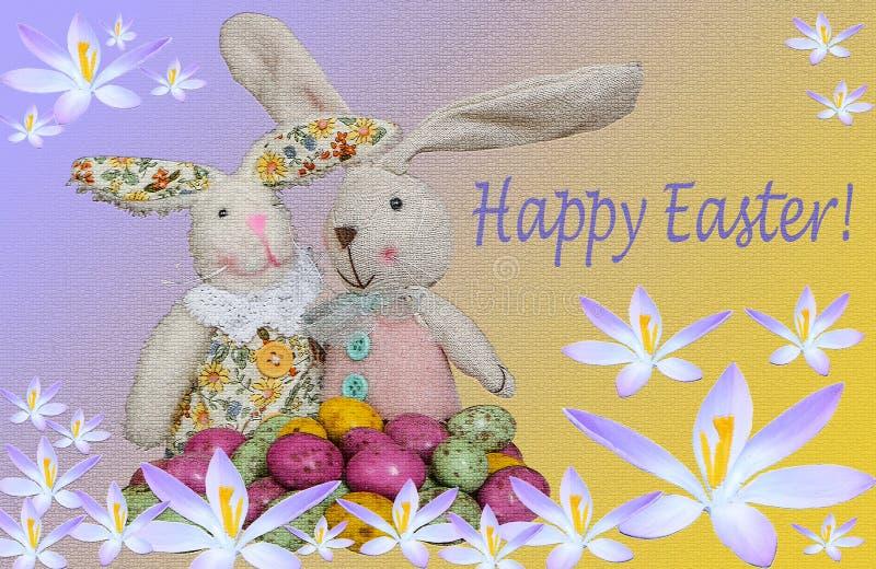 Telemóvel amarelo Dois coelhos com ovos da páscoa imagens de stock