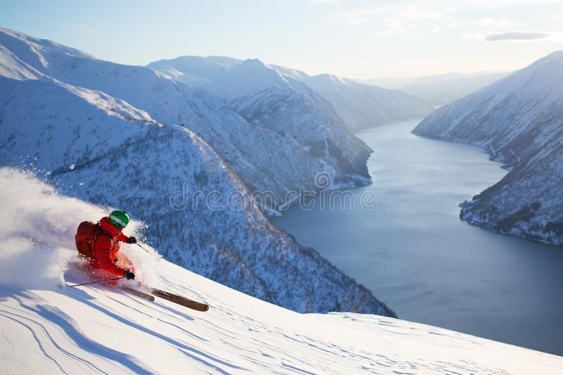 Telemark skiing in Norway stock photos