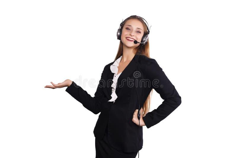 Telemarketerfrau stockbild