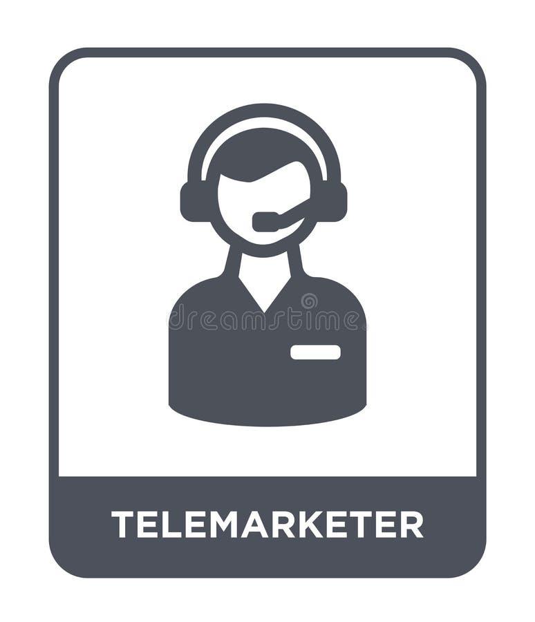 telemarketersymbol i moderiktig designstil Telemarketersymbol som isoleras på vit bakgrund enkel telemarketervektorsymbol och royaltyfri illustrationer