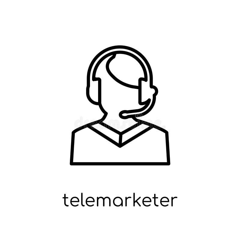 Telemarketersymbol Moderiktig modern plan linjär vektorTelemarketer stock illustrationer