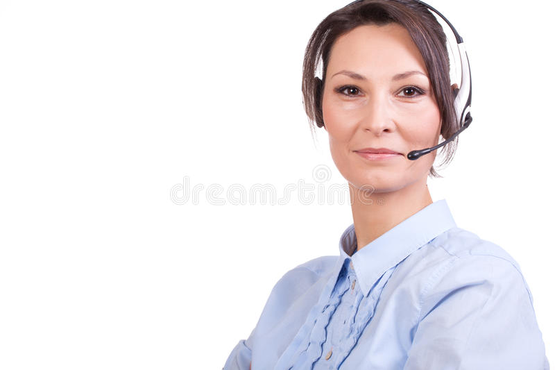 Telemarketing. Headset woman from call center royalty free stock photos