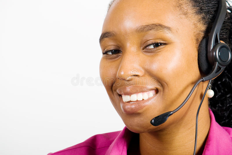 Telemarketing consultant. African american telemarketing consultant portrait royalty free stock images