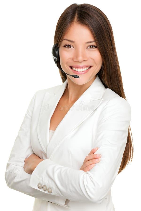 Telemarketing headset woman royalty free stock photo