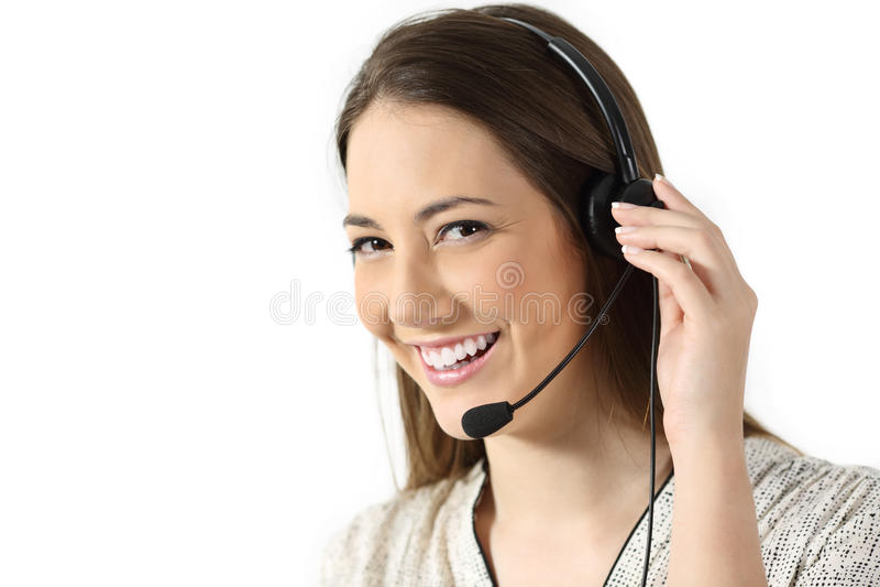 Telemarketing operator on white background. Portrait of a telemarketing operator looking at you isolated on a white background stock photo