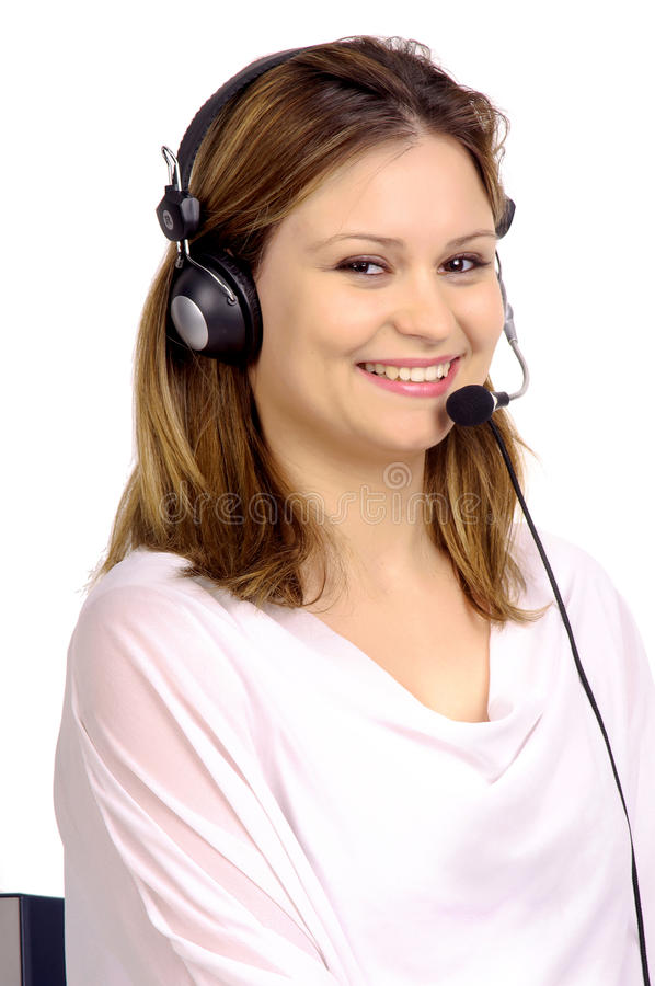 Telemarketing. Young woman with telemarketing microphone royalty free stock photo