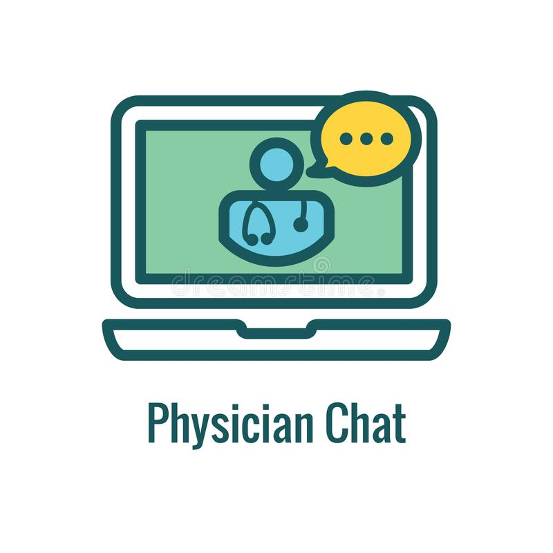 Telemedicine abstract idea with icons illustrating remote health. Telemedicine abstract idea - icons illustrating remote health and software royalty free illustration