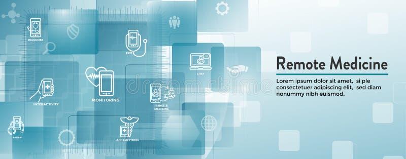 Telemedicine abstrakcjonistyczny pomysł - ikony ilustruje dalekich zdrowie i oprogramowanie royalty ilustracja