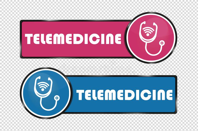 Telemedicine Buttons Square And Circle - Vector Illustration - Isolated On Transparent Background vector illustration