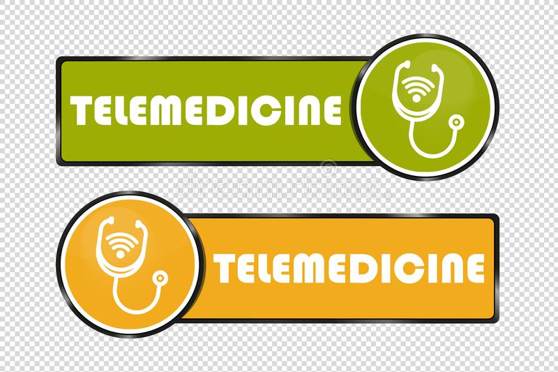 Telemedicine Buttons Square And Circle - Vector Illustration - Isolated On Transparent Background stock illustration