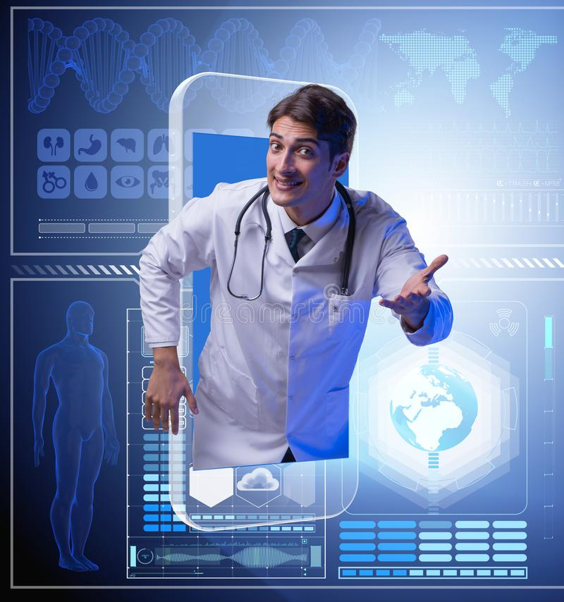 Telemedicine concept with doctor and smartphone. The telemedicine concept with doctor and smartphone royalty free stock photo