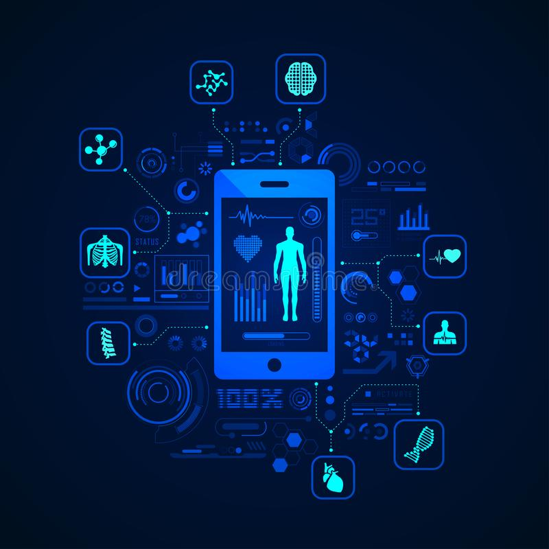Telemedicine. Concept of e-health or telemedicine, graphic of health care application on device with medical icons vector illustration