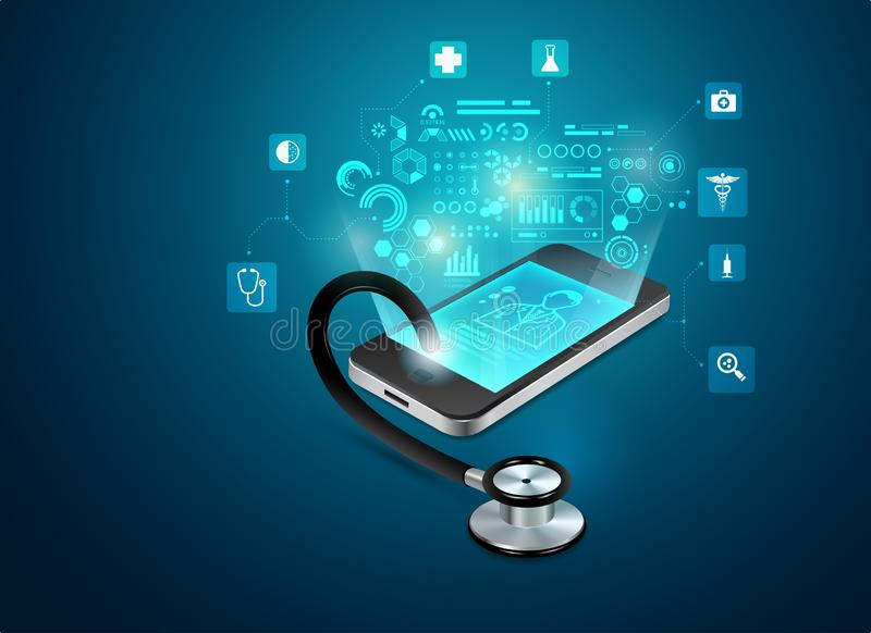 Telemedicine. Concept of telemedicine or e-health, graphic of realistic smart device with stethoscope reaching out from the screen vector illustration