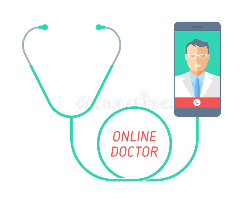 Telemedicine concept. Stethoscope with mobile phone, doctor on t vector illustration