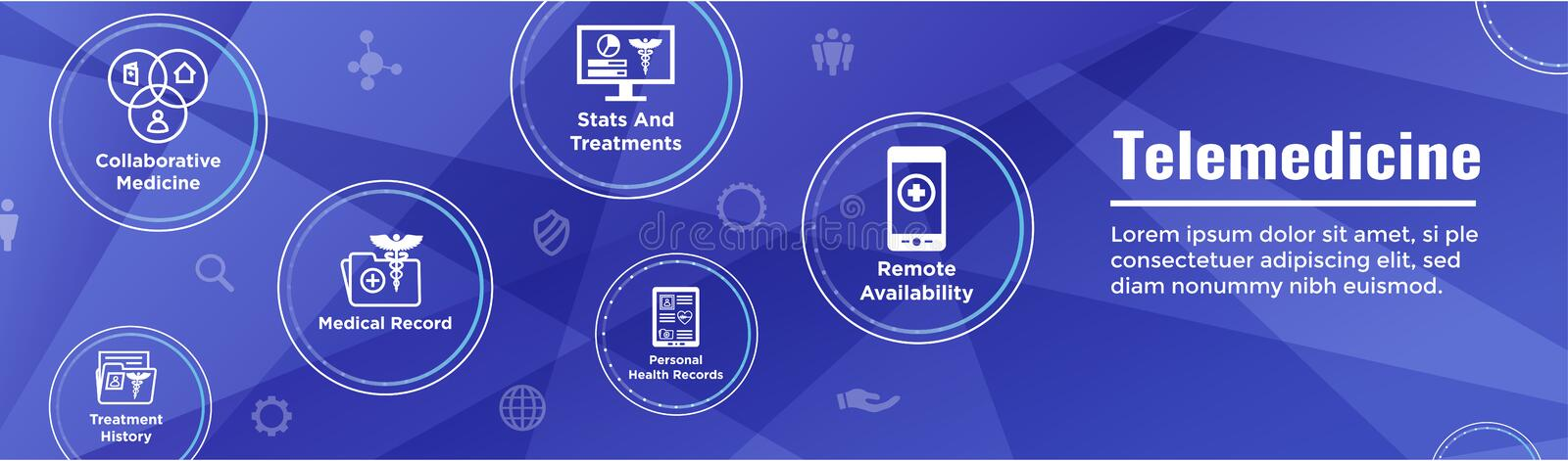 Telemedicine header banner for web - icon set with telehealth, e. Hr, phr, and emr royalty free illustration