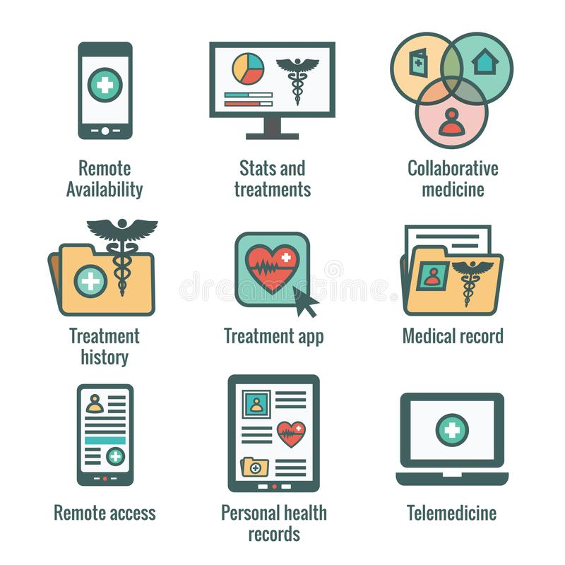 Telemedicine and Health Records Icon Set with Caduceus, file fol. Telemedicine and Health Records Icon Set w Caduceus, file folders, computers, etc stock illustration