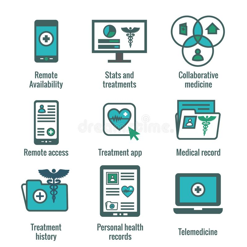 Telemedicine and Health Records Icon Set with Caduceus, file fol. Telemedicine and Health Records Icon Set w Caduceus, file folders, computers, etc vector illustration