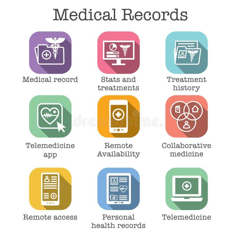 Telemedicine i dokumentacj medycznych ikona Ustawiająca z kaduceuszem, kartoteki fol ilustracja wektor