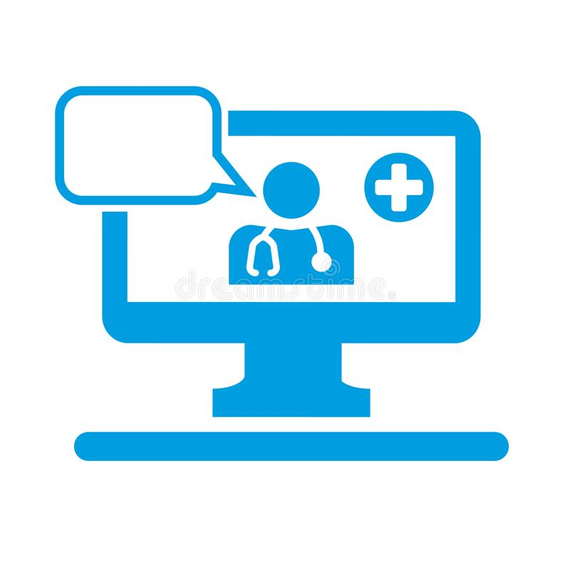Telemedicine concept vector illustration pictogram. Telemedicine icon. Doctor on the computer screen with stethoscope and speech bubble royalty free illustration