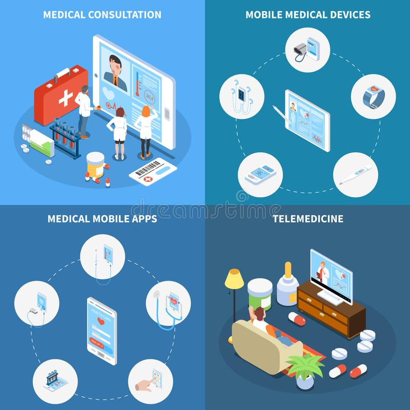 Telemedicine Isometric Design Concept. With online consultation medical mobile apps and devices vector illustration stock illustration