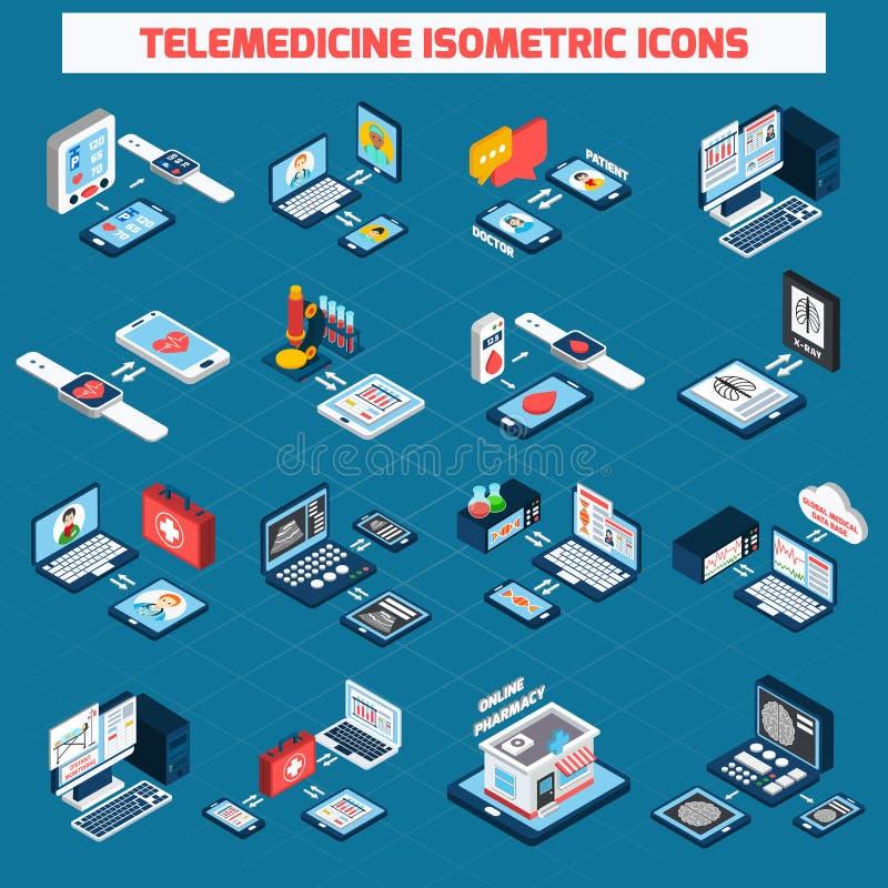Telemedicine isometric ikony ustawiać ilustracja wektor