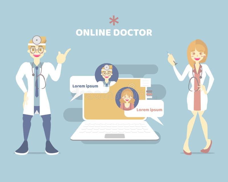 telemedicine lekarka, online opieki zdrowotnej gadka z samiec i kobiety lekarka, telehealth pojęcie ilustracja wektor