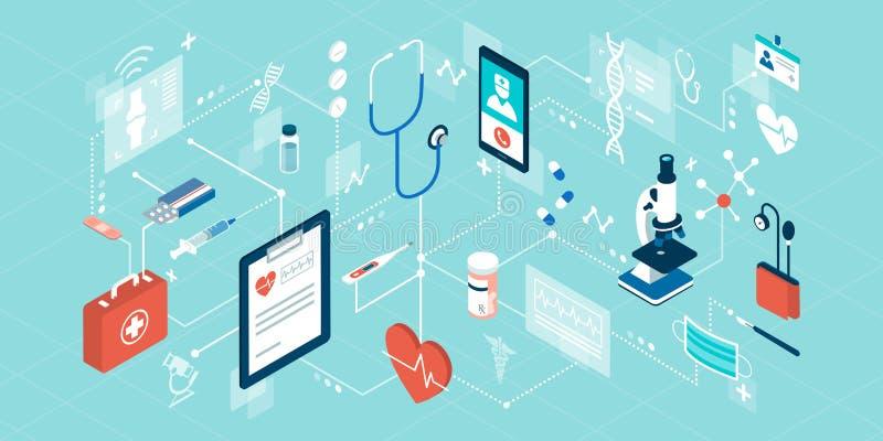 Telemedicine och online-sjukvårdservice stock illustrationer