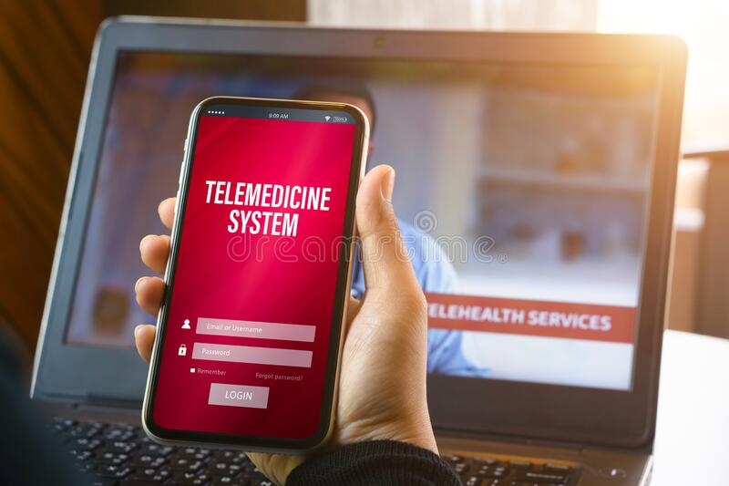 Telemedicine online application background concept. Mockup mobile phone, a person holding smartphone using the telemedicine system. Application with facemask stock image