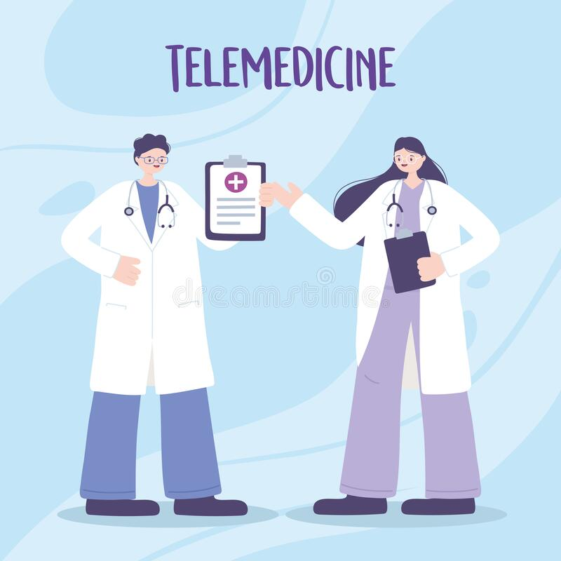 Free Telemedicine, Physicians Professional Staff Medical Treatment And Online Healthcare Services Stock Photography - 184548952