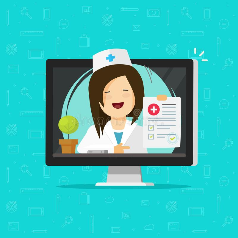Telemedicine vector illustration, flat cartoon doctor character consulting online via computer, woman medic give. Distance medication, physician diagnosis vector illustration
