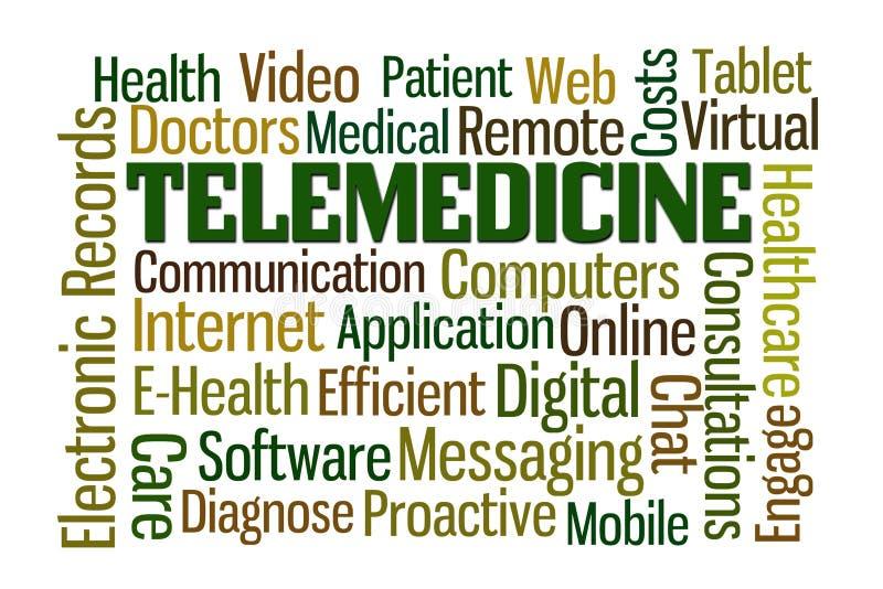 Telemedicine. Word cloud on white background stock illustration