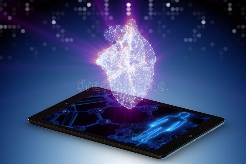 Telemedicinebegreppet med avlägsen övervakning av hjärtavillkoret royaltyfri illustrationer