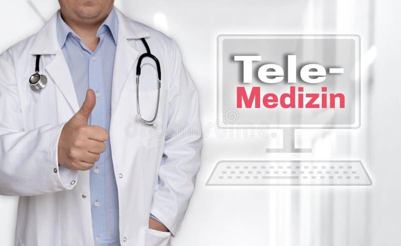 Telemedizin i tyskt Telemedicinebegrepp och doktor med thu royaltyfria foton