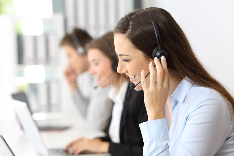 Teleoperator working at call center stock image