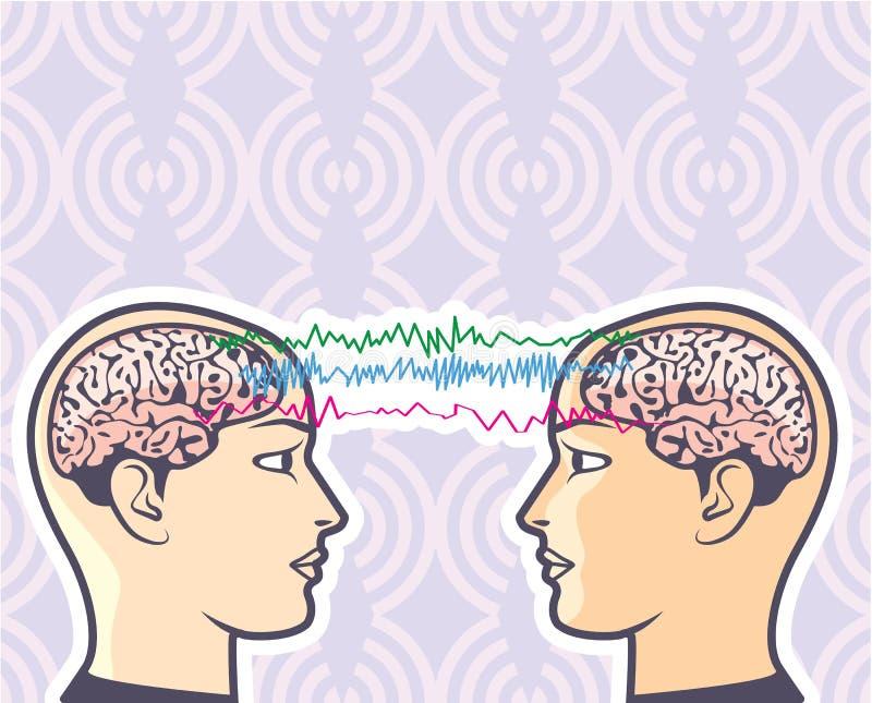 Telepatía entre los cerebros humanos vía el ejemplo del vector de las ondas cerebrales fotos de archivo