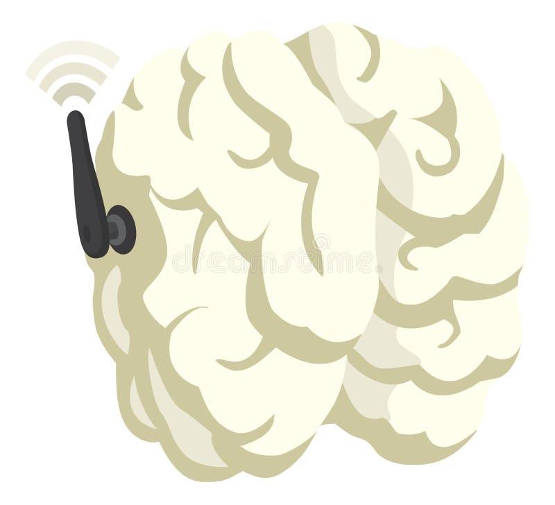 Telepath hjärna med antennen som förbinder till wifien stock illustrationer