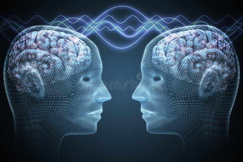 Telepatii pojęcie Dwa ludzie komunikują ilustracja pozbawione 3 d royalty ilustracja