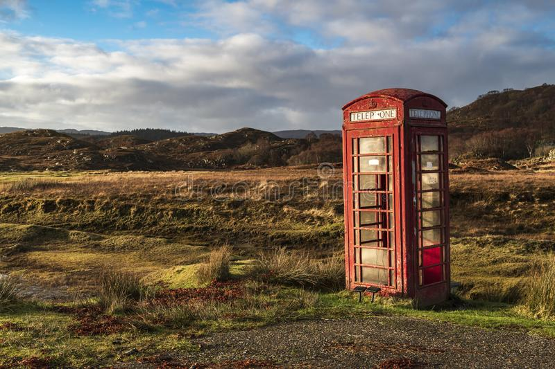 Telephome Box. A solitary telephone box near Kentra bay in Ardnamurchan, Lochaber, Scotland stock photo