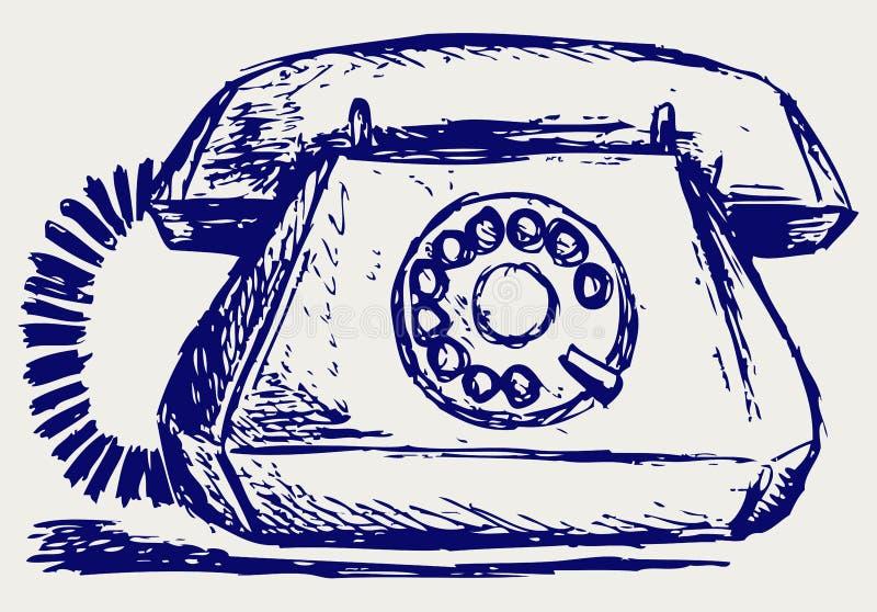 Telephon med den roterande visartavlan royaltyfri illustrationer