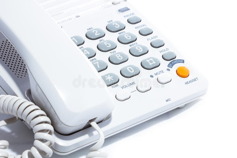 Telephone. Close-up of a telephone (on white background stock images