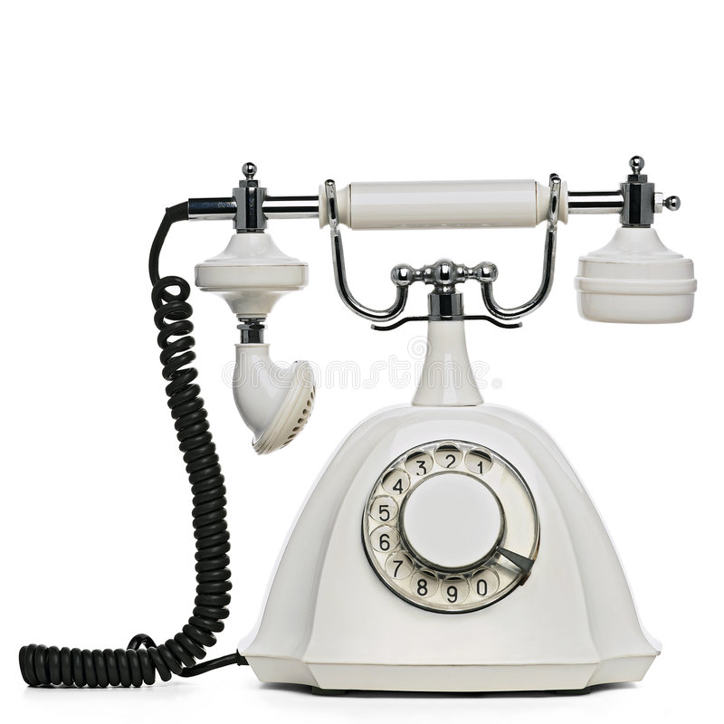 Telephone. Vintage white telephone on white with clipping path