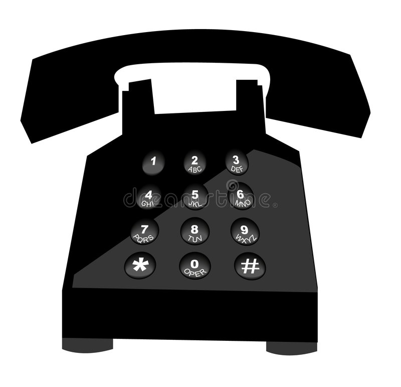 Telephone. Black telephone with push button numbers - vector vector illustration