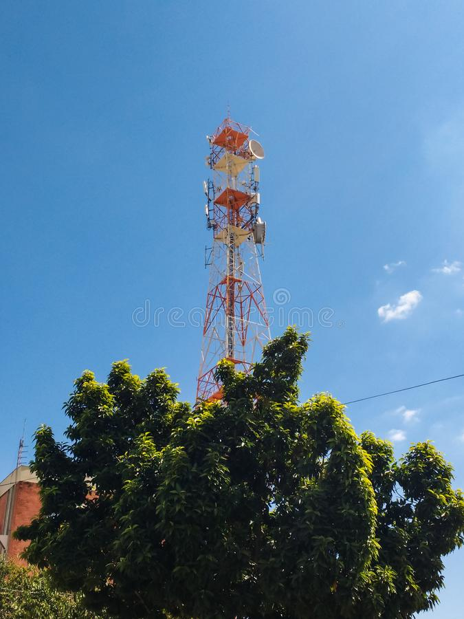 Telephone antenna behind tree in the foreground. royalty free stock image