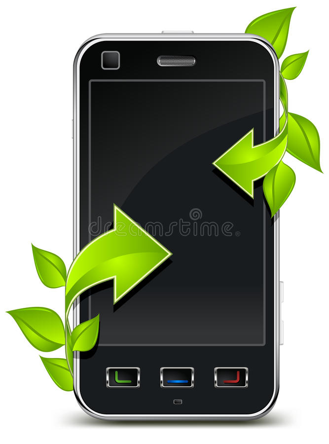 Telephone & arrow. Business communication concept, mobile telephone and green arrows with leaves stock illustration