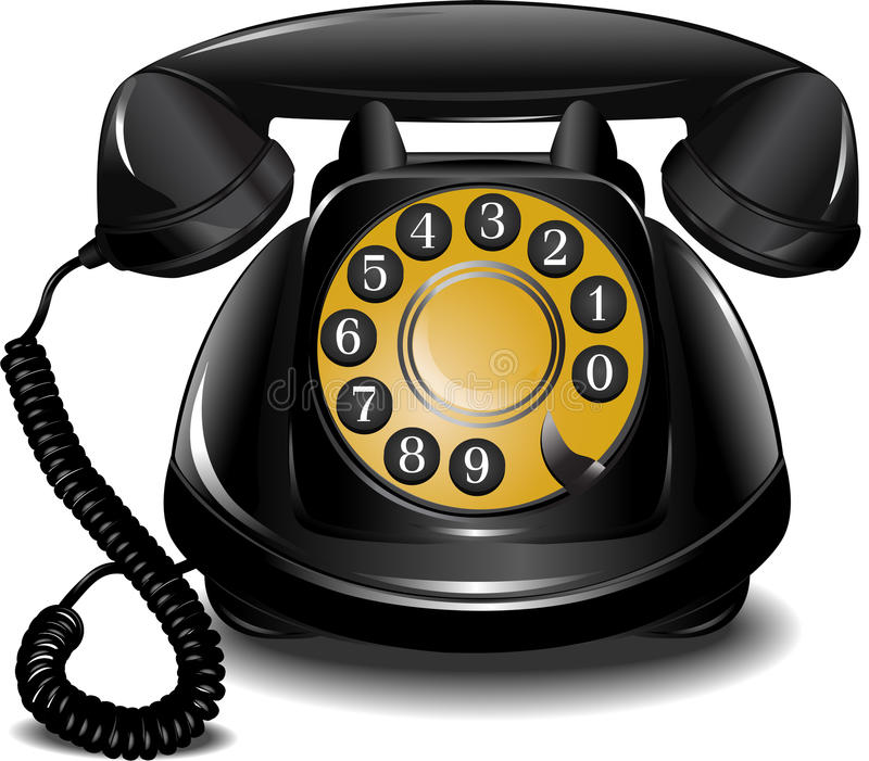 Telephone. Black rotary telephone with wire isolated on white background illustration stock illustration