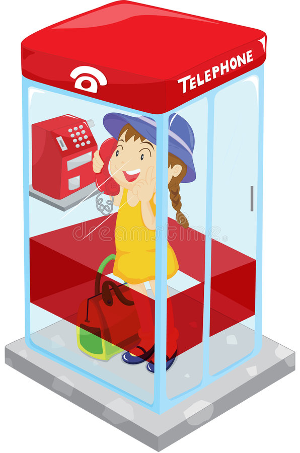 Telephone booth. Illustration of a girl in a telephone booth stock illustration